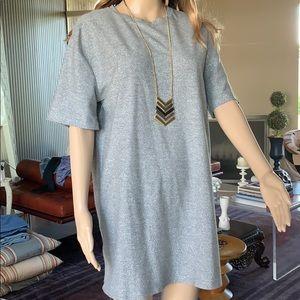Zara Trafaluc Silver Speckled T-Shirt Dress M